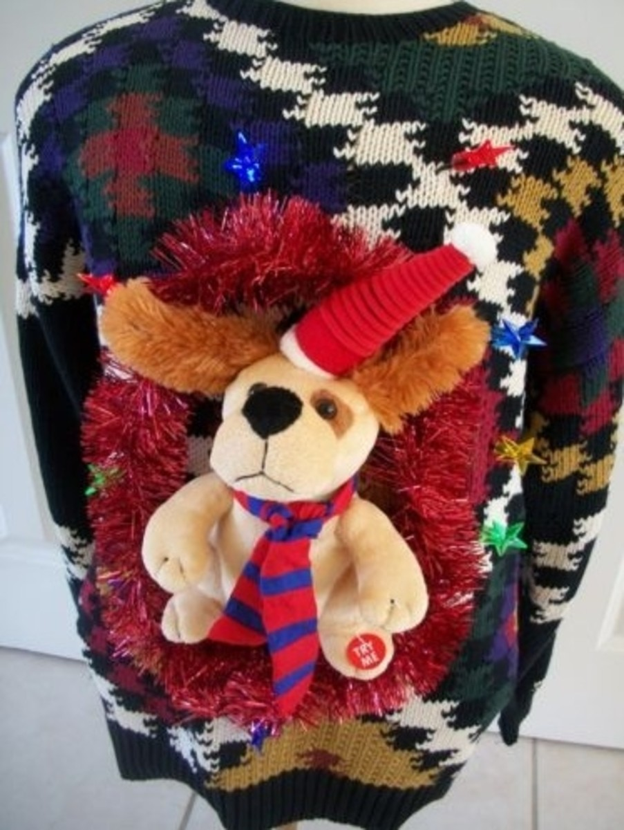 Hint:  A Christmas Sweater is not required for the start of your ugly sweater project.  Here's a very busy sweater that suggests Christmas only because of the decorations.  Like lights, and a puppy wearing a Santa hat and scarf, and a garland wreath.