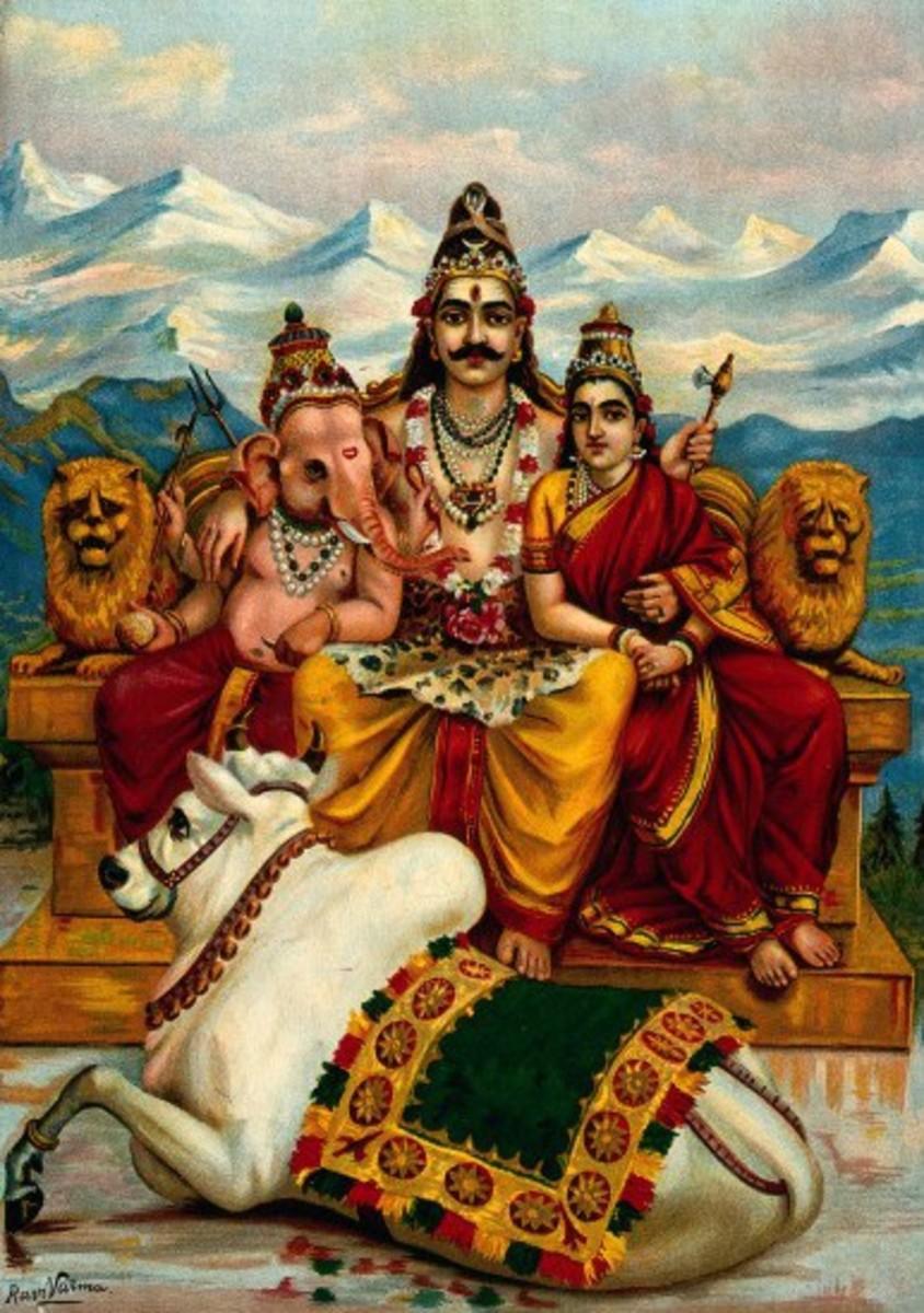 Ganesha con los padres-Shiva y Parvati