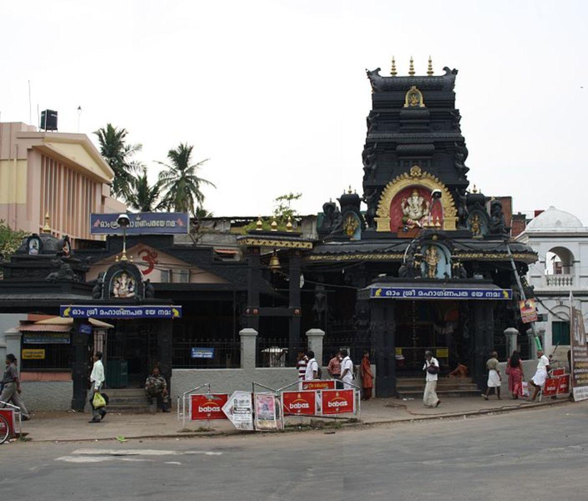 Templo Pazhavangadi Ganapati, Thiruvananthapuram- el más famoso templo de Ganapati en Kerala.