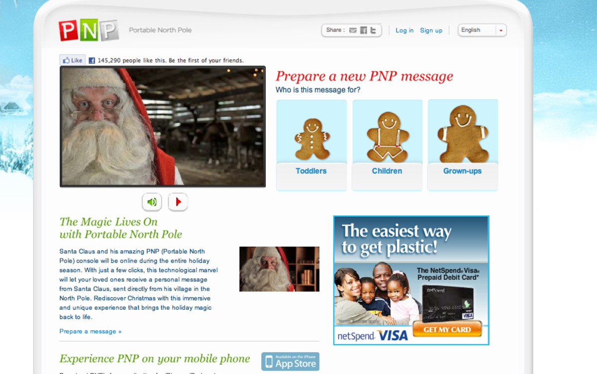 Portable North Pole (PNP):  Personalized Video Messages from Santa Claus