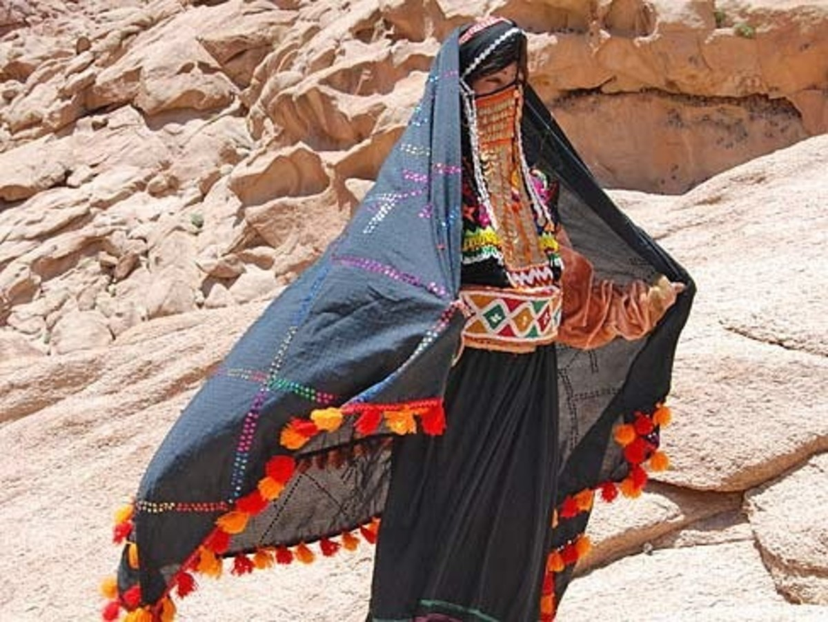 Southern Sinai, Egypt, Bedouin woman with traditional robe