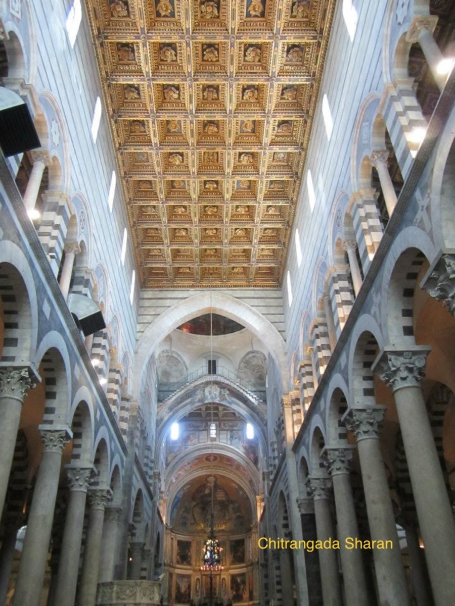 Inside of the cathedral at Pisa, Italy