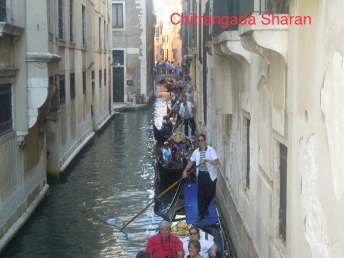 The lined up Gondolas in Venice, Italy
