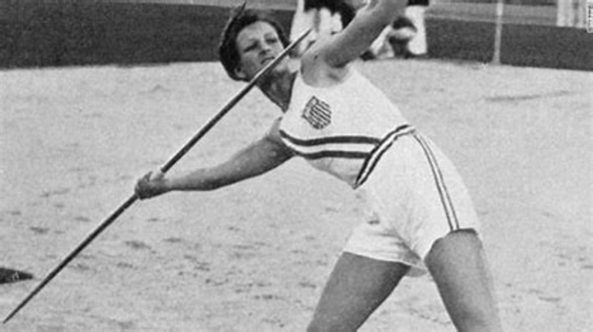 Babe Didrikson throwing javelin during Olympics
