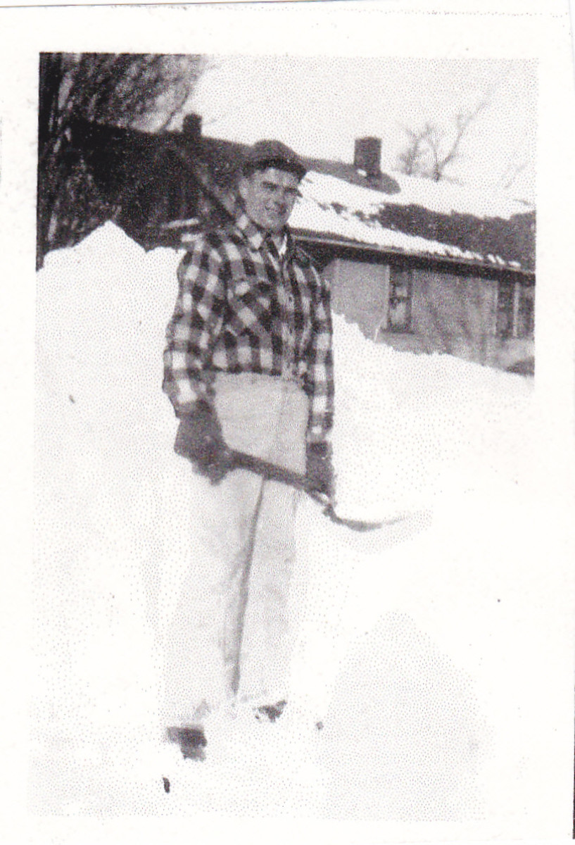 Dad shoveling snow in the late 1940s.