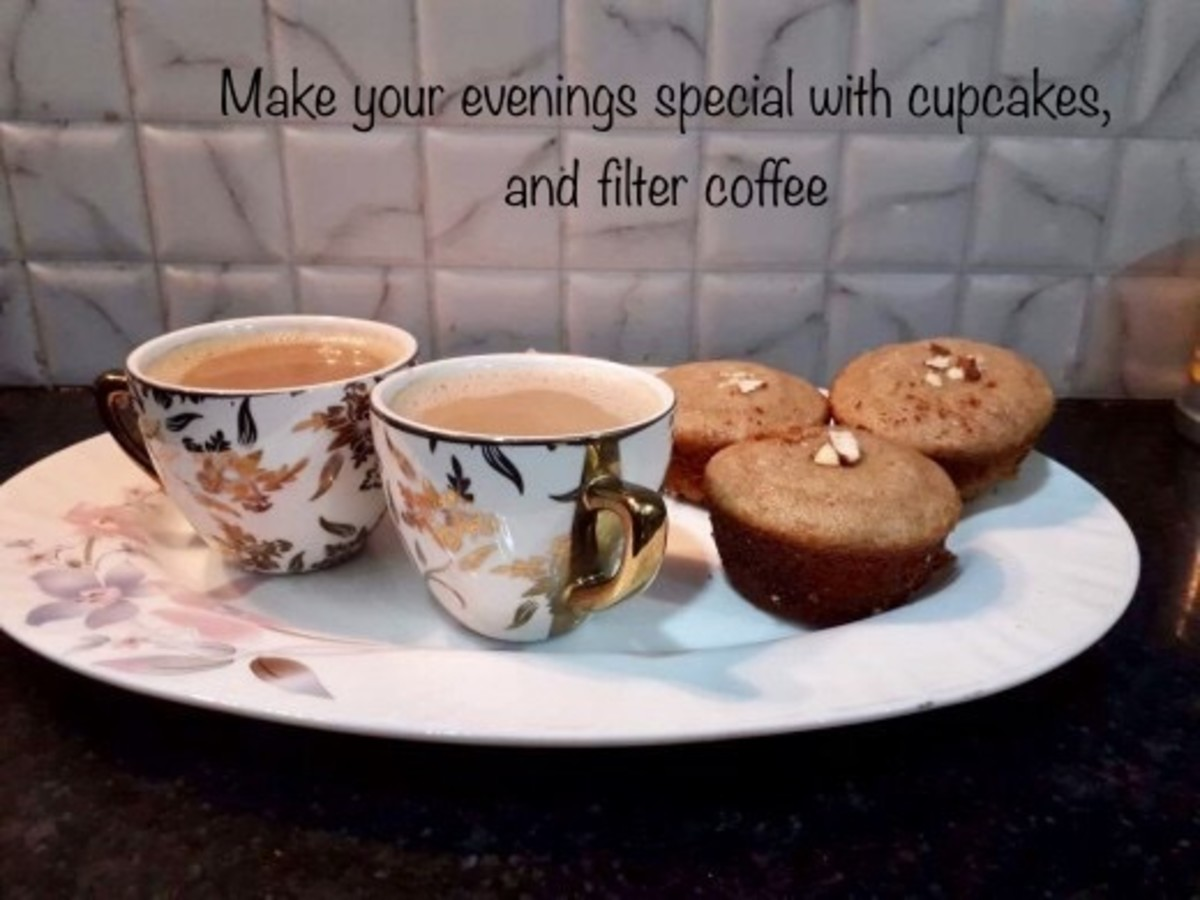 Walnut cinnamon cupcakes, with filter coffee for those special evenings