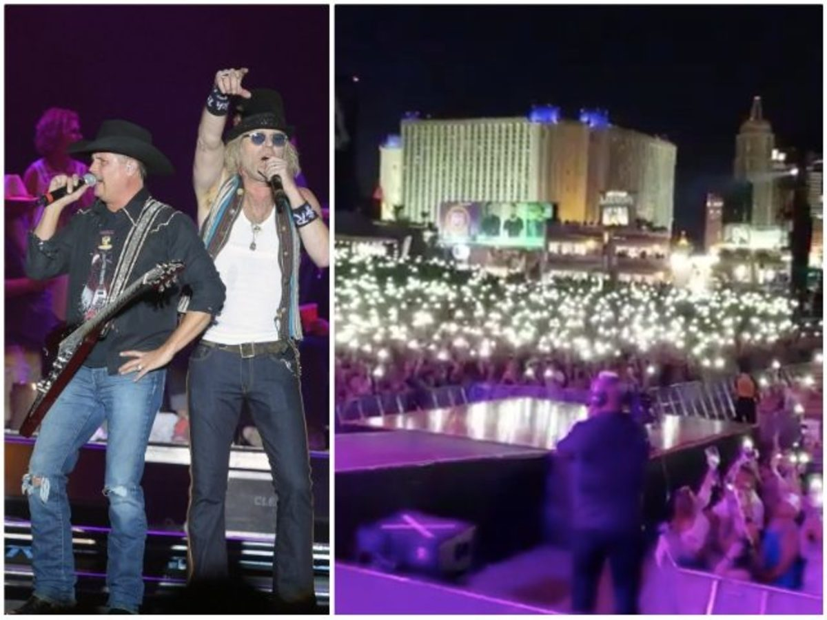 Moments before the massacre took place in Las Vegas, Country Music Artists, Big and Rich, led the crowd in 'God Bless America'