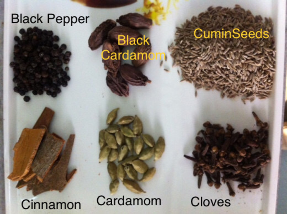 The Garam masala powder usually includes—Black and Green Cardamoms, Cumin seeds, Black pepper, Cinnamon, Cloves etc.