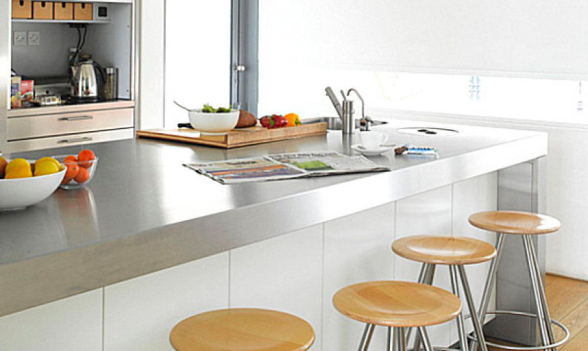 The stainless steel kitchen countertops  are industrial durable.