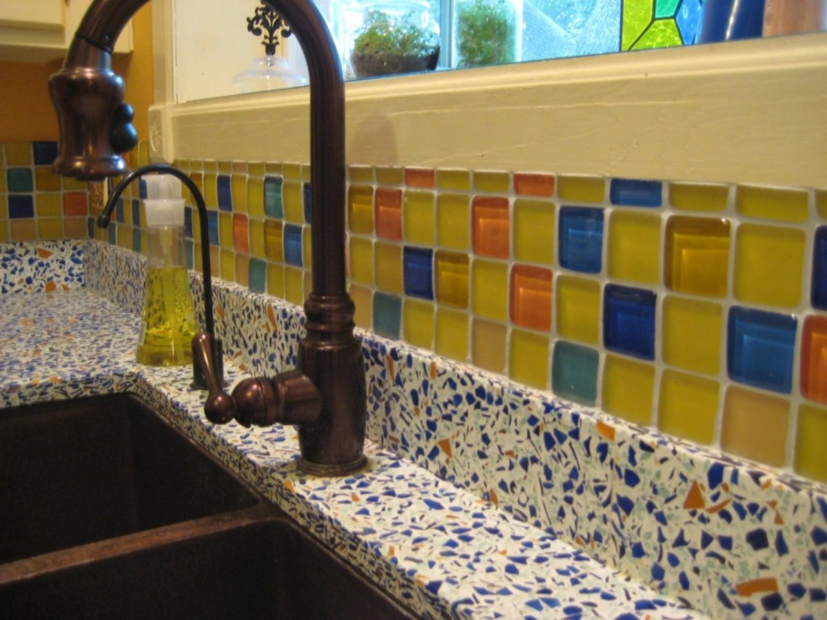 The recycled crushed glass that uses composites for the kitchen countertop.