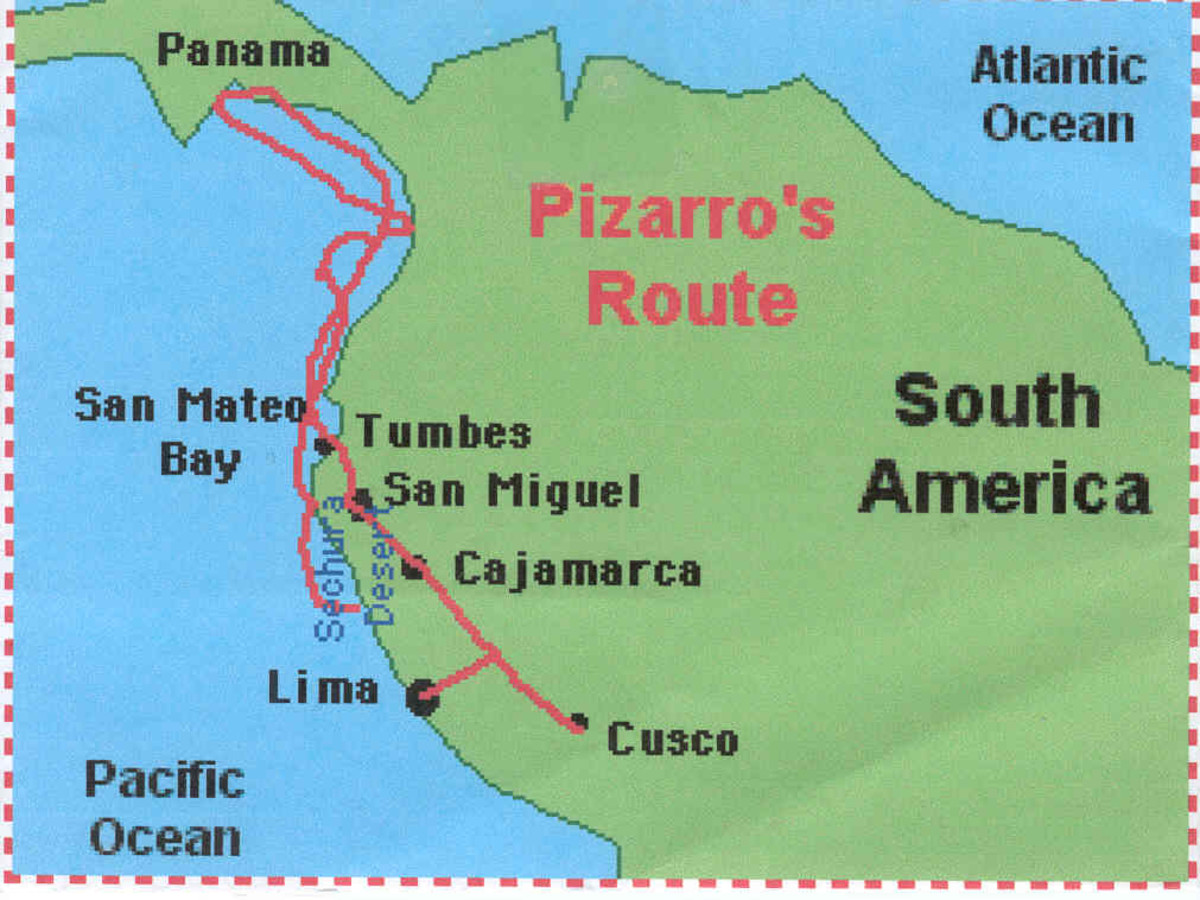 Pizarro's Map of Discoveries