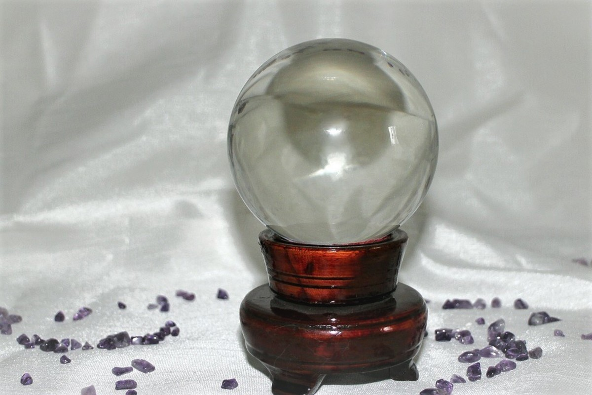 An example of a modern-day scrying sphere—a.k.a crystal ball. This one is made from plain glass.