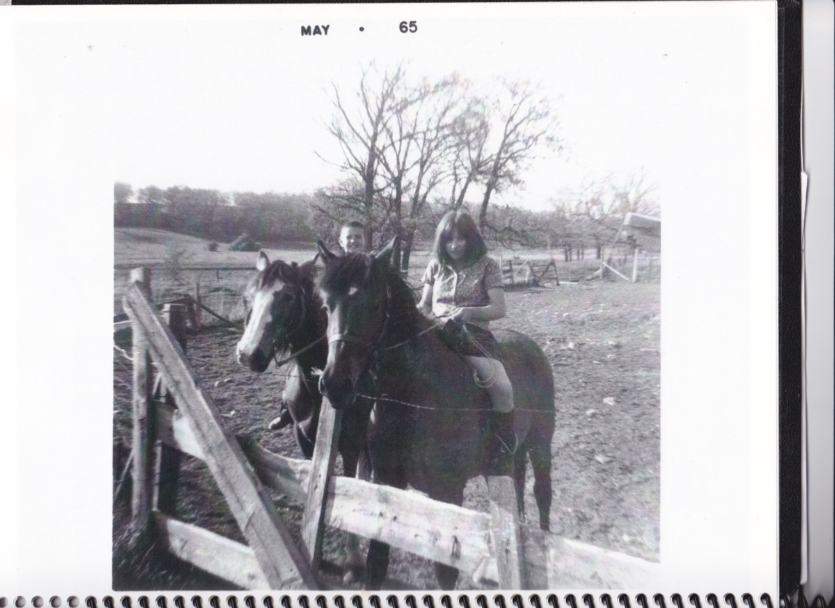 Patty and Philip on horses in 1965