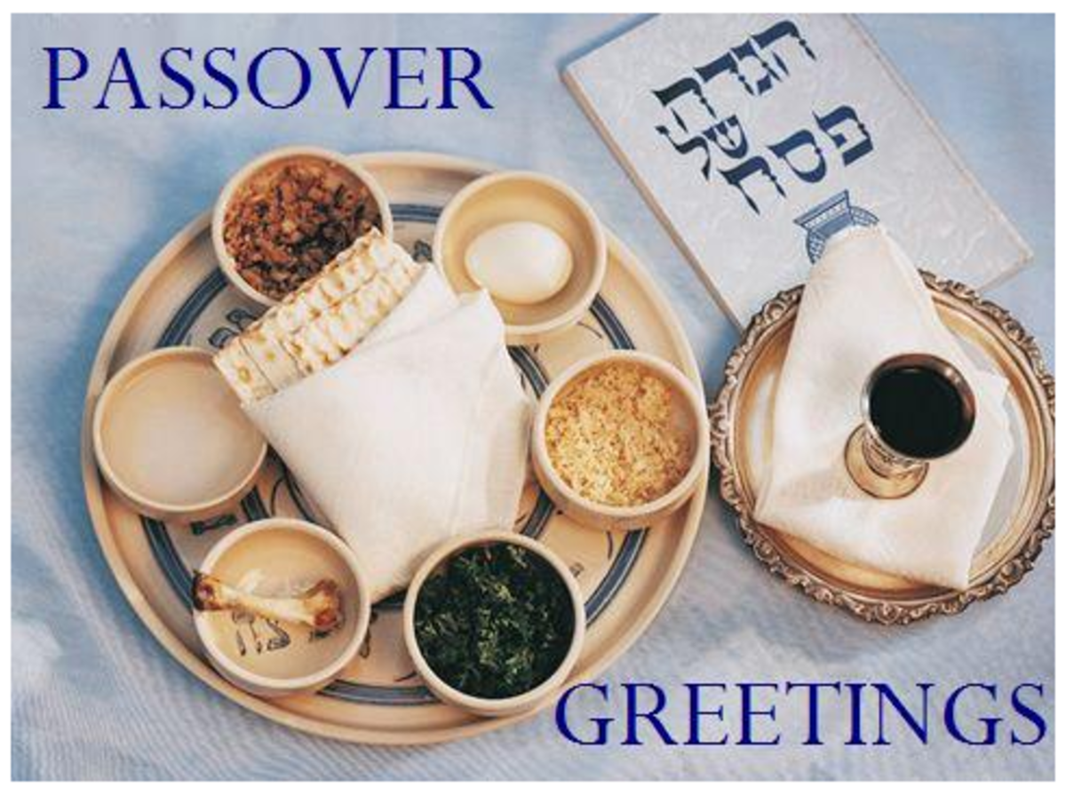 Passover Greetings with Seder Plate, Matzah, Haggadah and Wine
