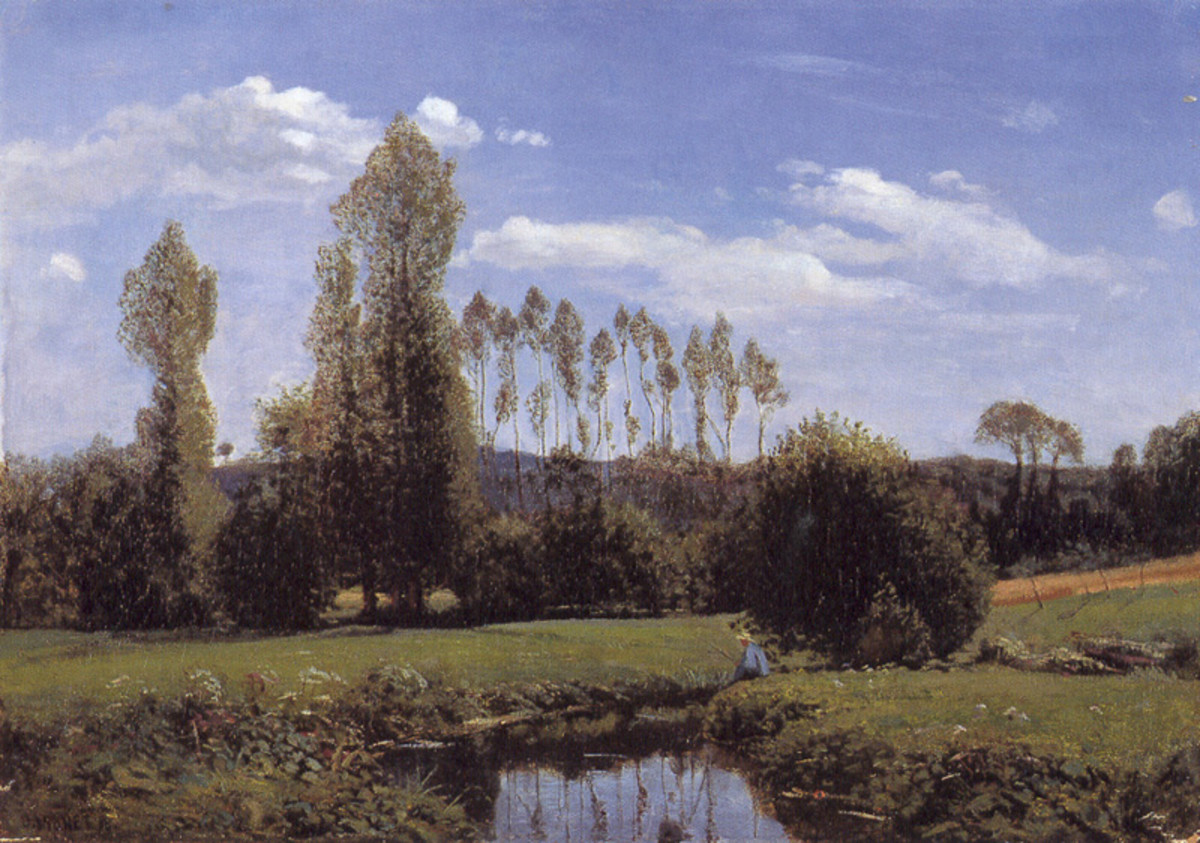 View At Rouelles, Le Havre, by Claude Monet, 1858.