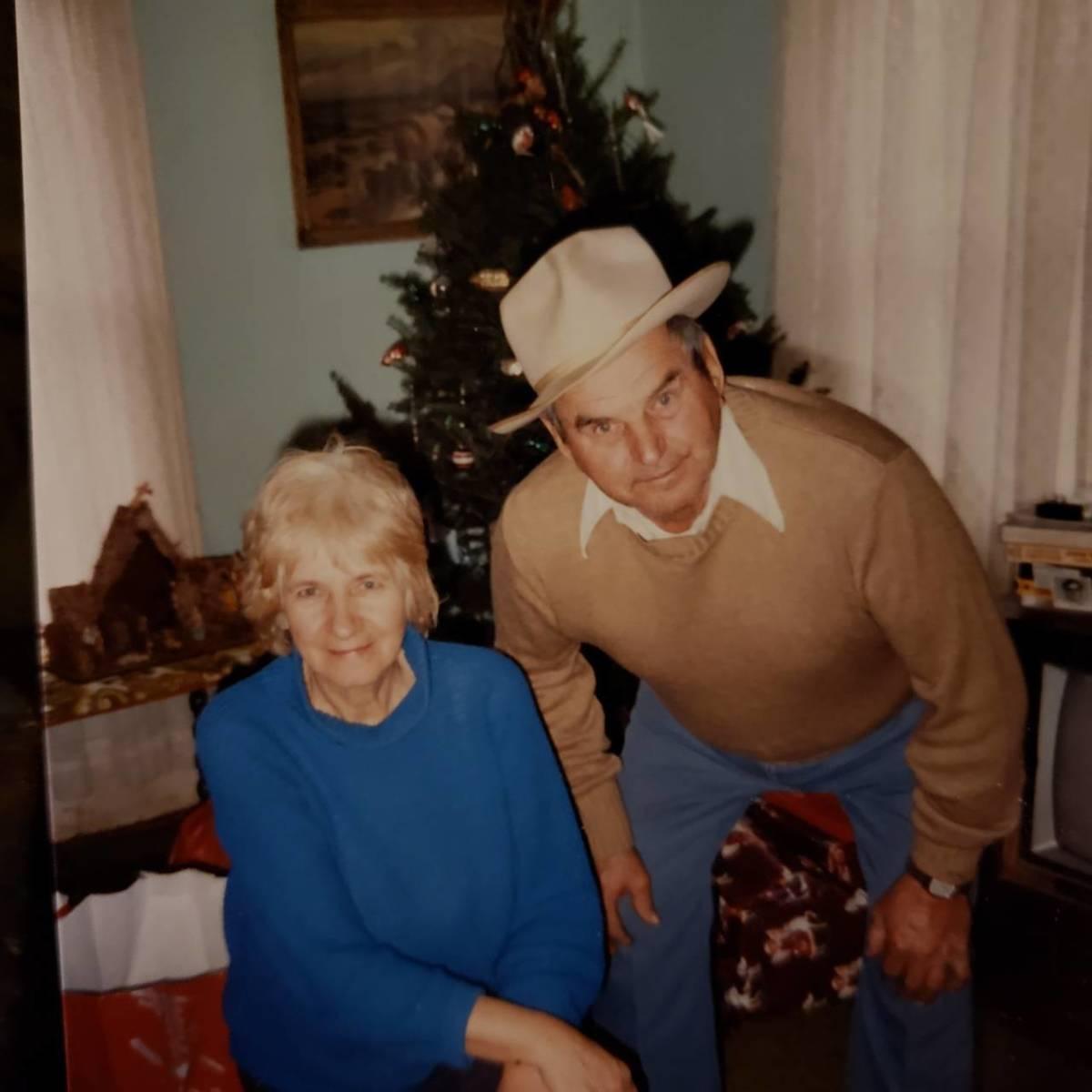 Mom and Dad at Christmas 1985.