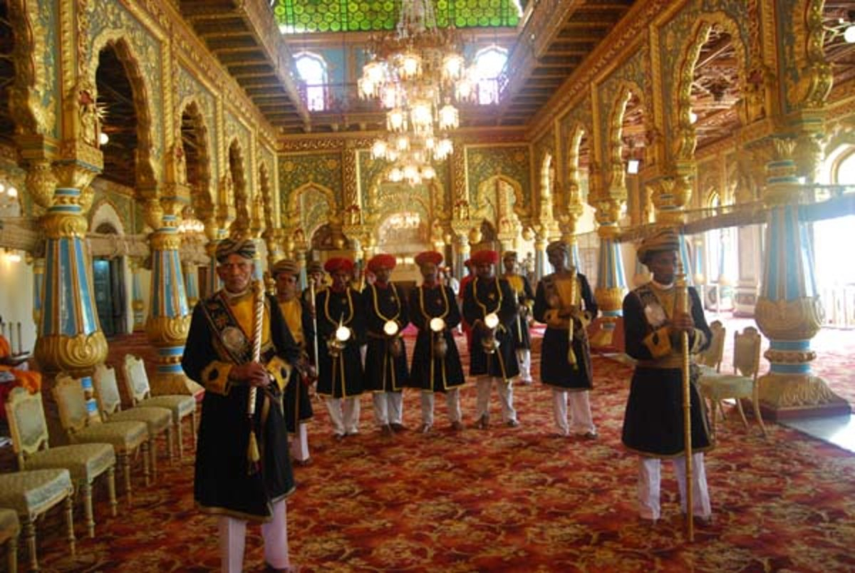 THE MAHARAJA WALKS THROUGH THIS PASSAGE TO THE ROYAL DURBAR.