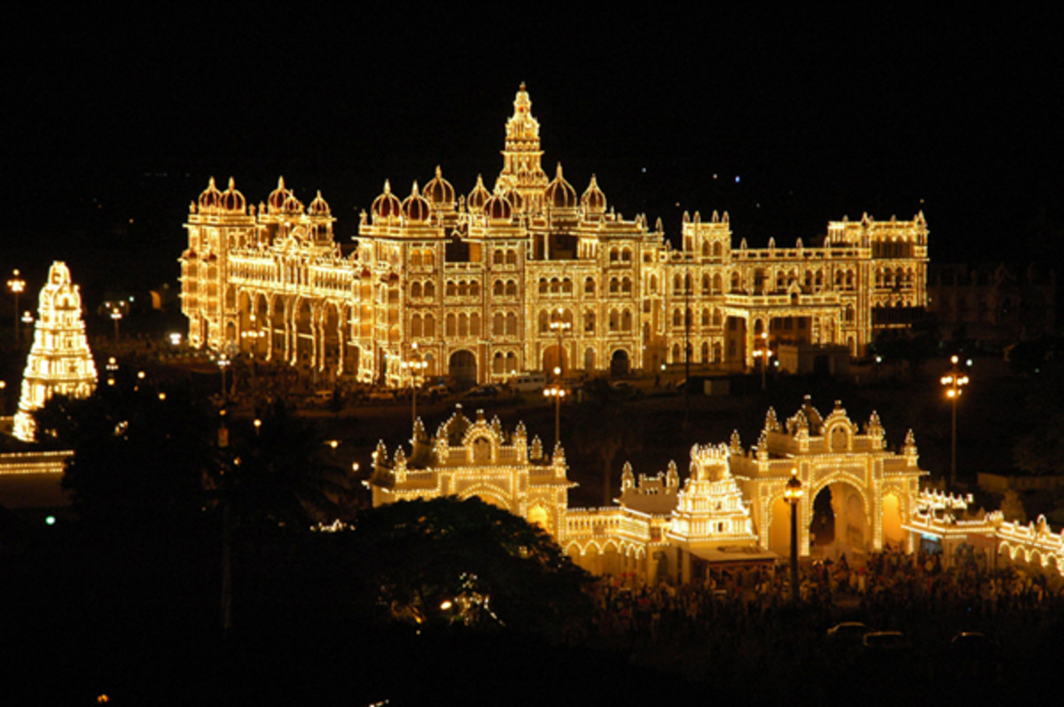 ARIAL VIEW OF MYSORE PALACE LIGHTED.