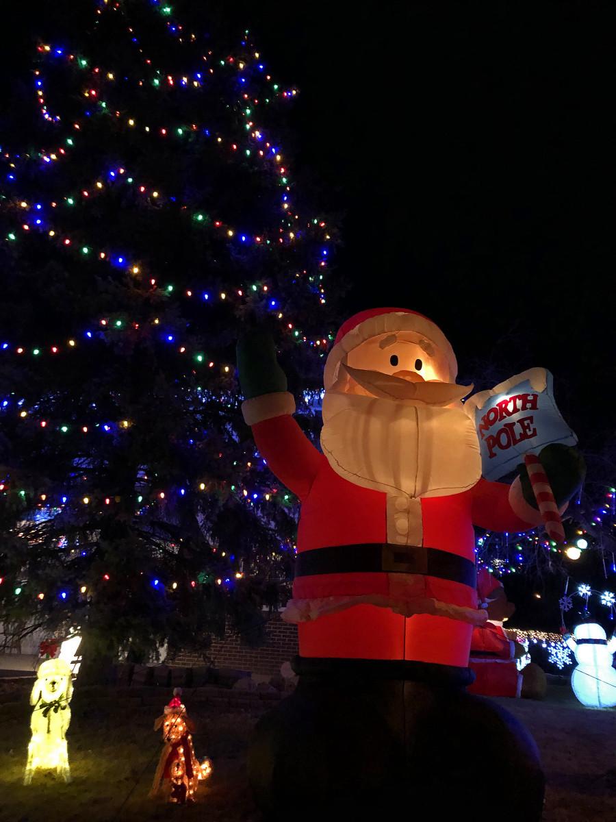 Huge Santa and tree at 6496 S. Marion Place