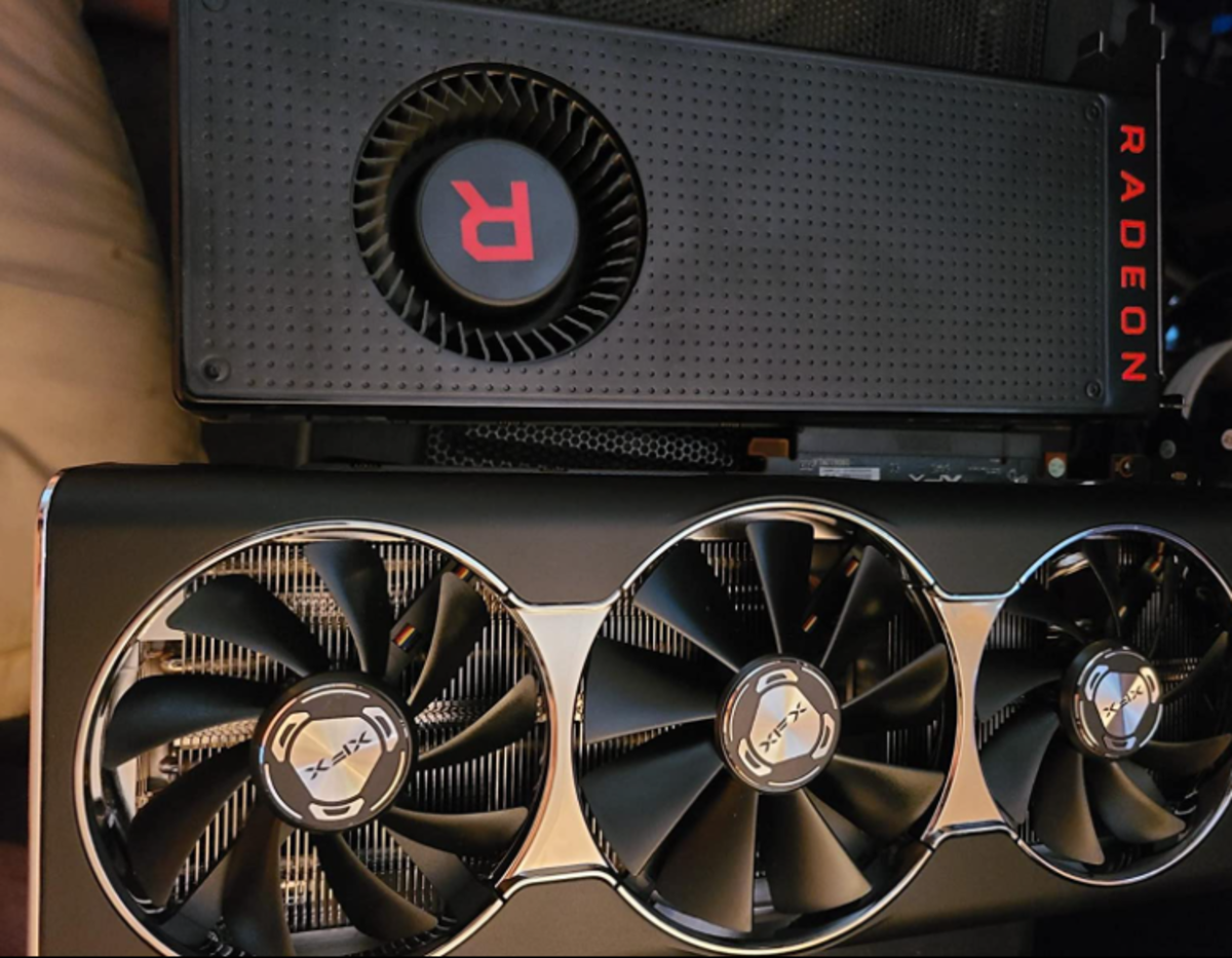 Big card with big results. Here's the XFX RX 5700 Xt next to the RX Vega 64. The 5700Xt is available for ordering with a 2 to 3 week wait time.