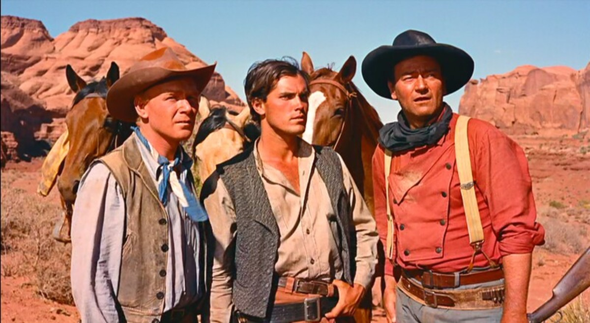 Harry Carey Jr, Jeffrey Hunter and John Wayne