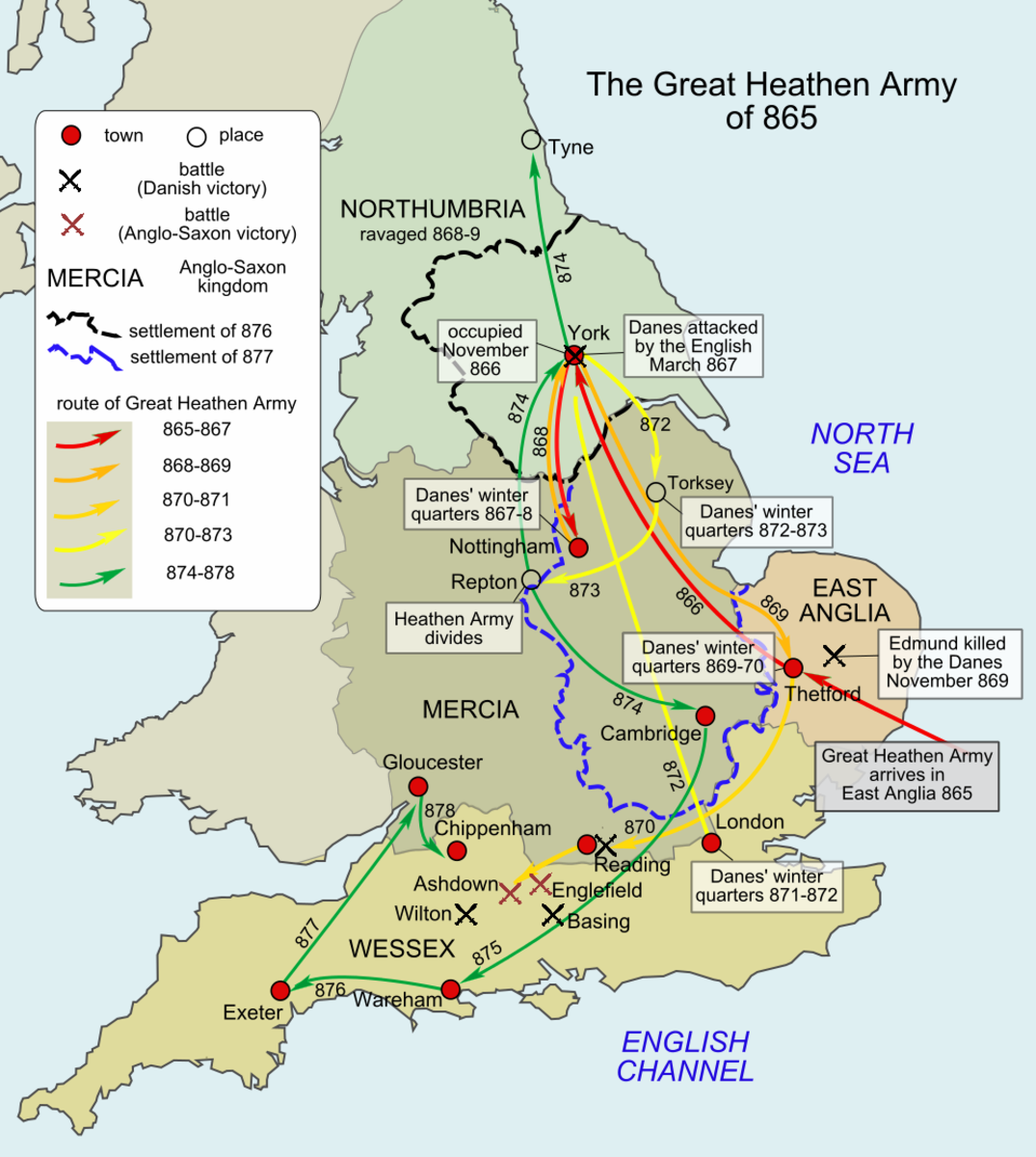 The campaigns of the mid-9th Century. On signing a treaty of Wedmore with Guthrum Aelfred did not endear himself to the Mercians, Northumbrians and East Angles. He also laid Wessex open to land attack from the east