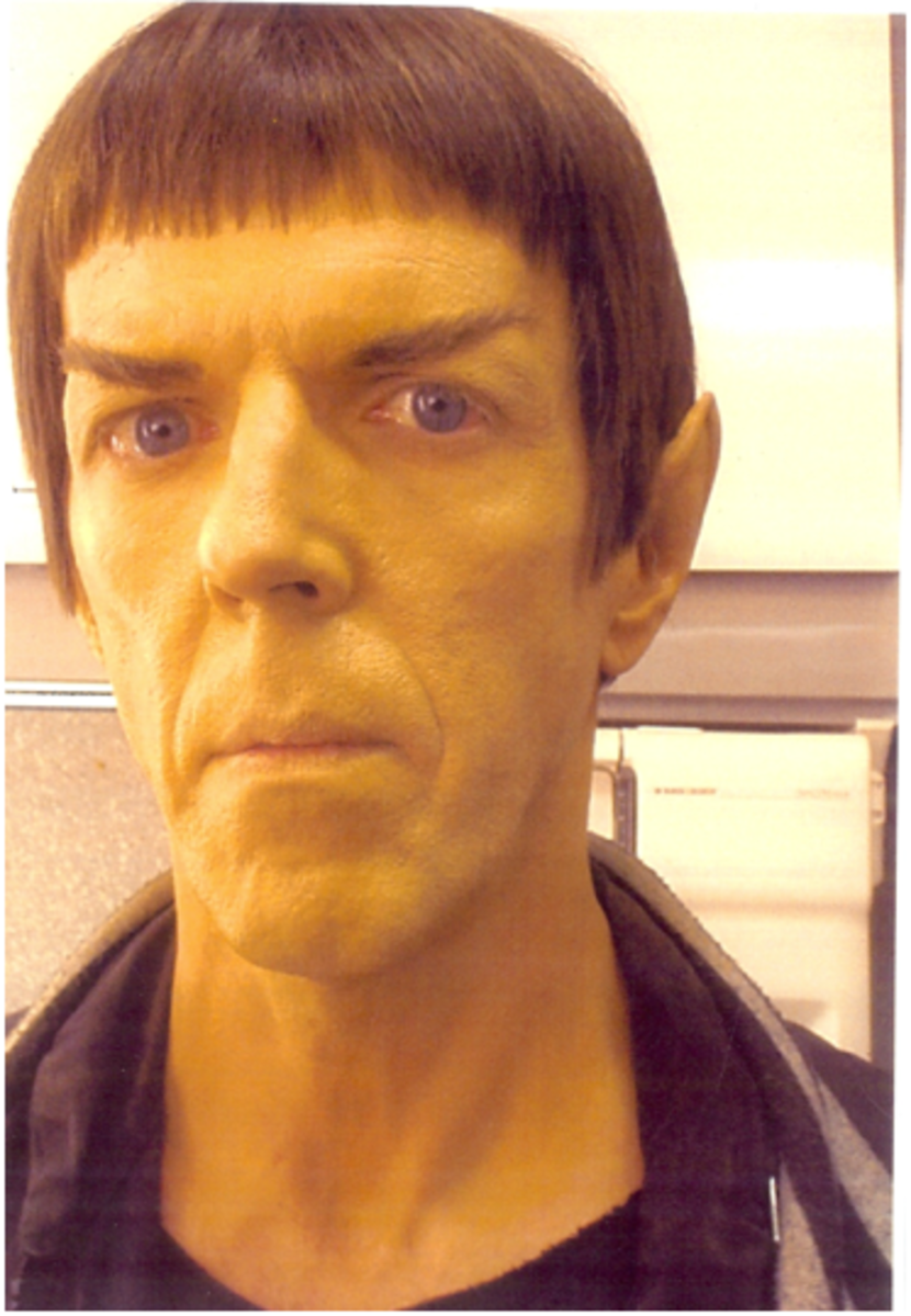 Bob was one of 3 Vulcans in the wedding scene early in the tenth Star Trek movie Nemesis. Unfortunately, he had already changed into his street clothes when this photo was taken in a make-up trailer.