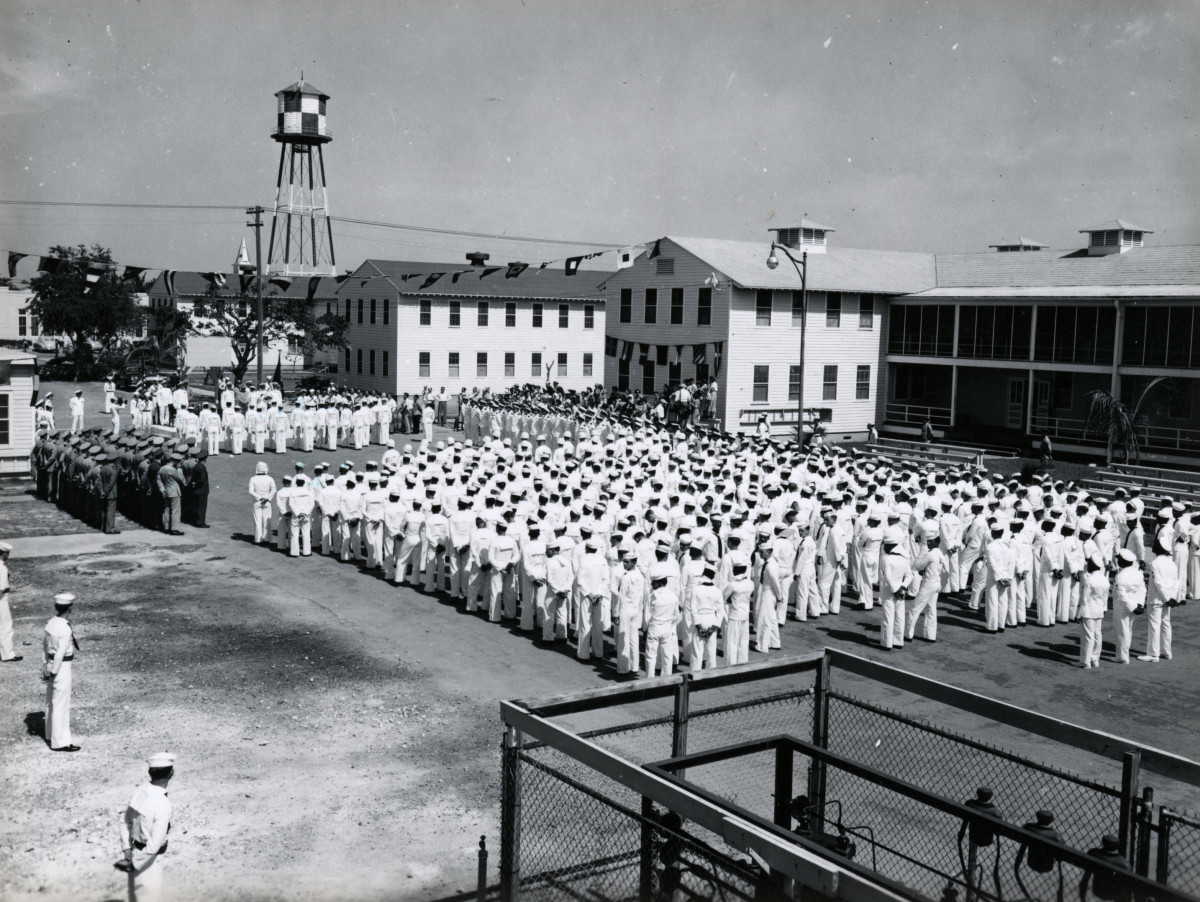 President Truman speaking to the 1949 graduating class of the Fleet Sonar School in Key West FL