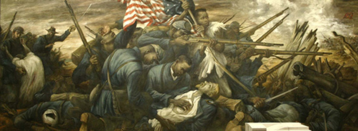 """Shaw at Fort Wagner"": This mural is in honor of Col. Robert Gould Shaw and the Massachusetts 54th Regiment, made up of freed slaves who fought during the Civil War."