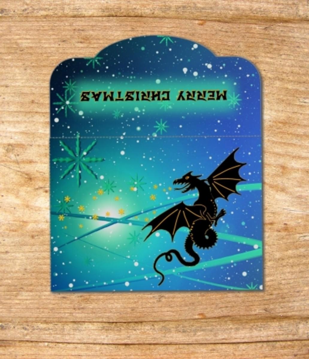 Printable dragon Christmas wallet