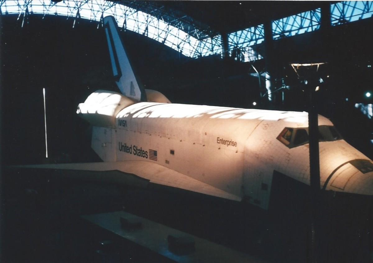 The STS ENTERPRISE, at the Udvar-Hazy Center, VA, circa 2005.  The ENTERPRISE was on exhibit at the New Orleans World's Fair.