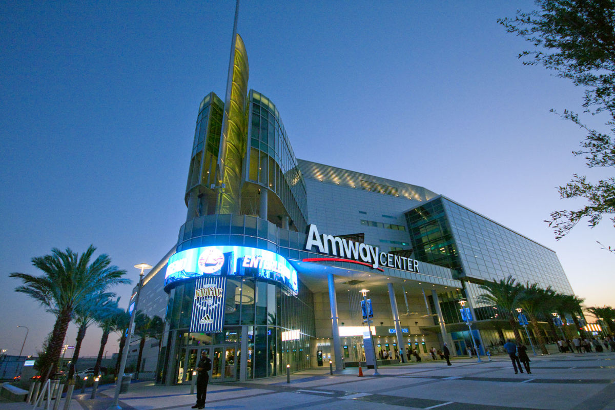 Orlando's Amway Center hosts a basketball team, a football team, a hockey team, and a wide variety of live music events.