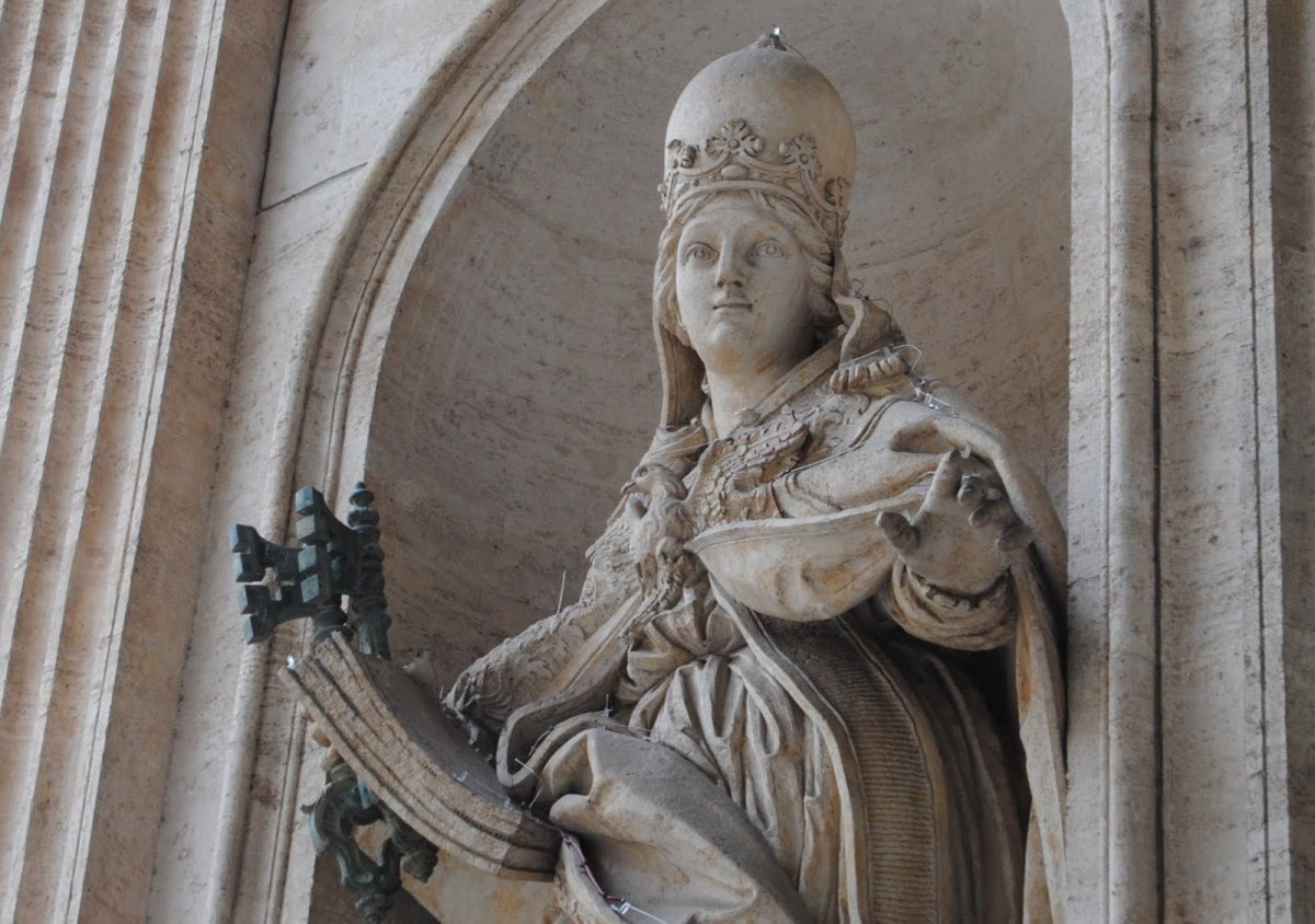 Pictured here is a statue of Pope Joan in England.