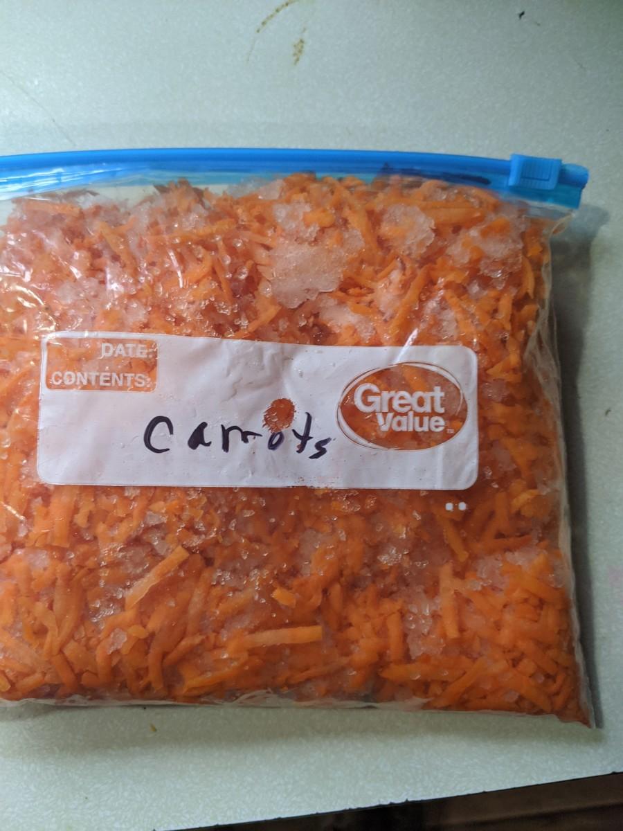I froze some shredded carrots last fall.