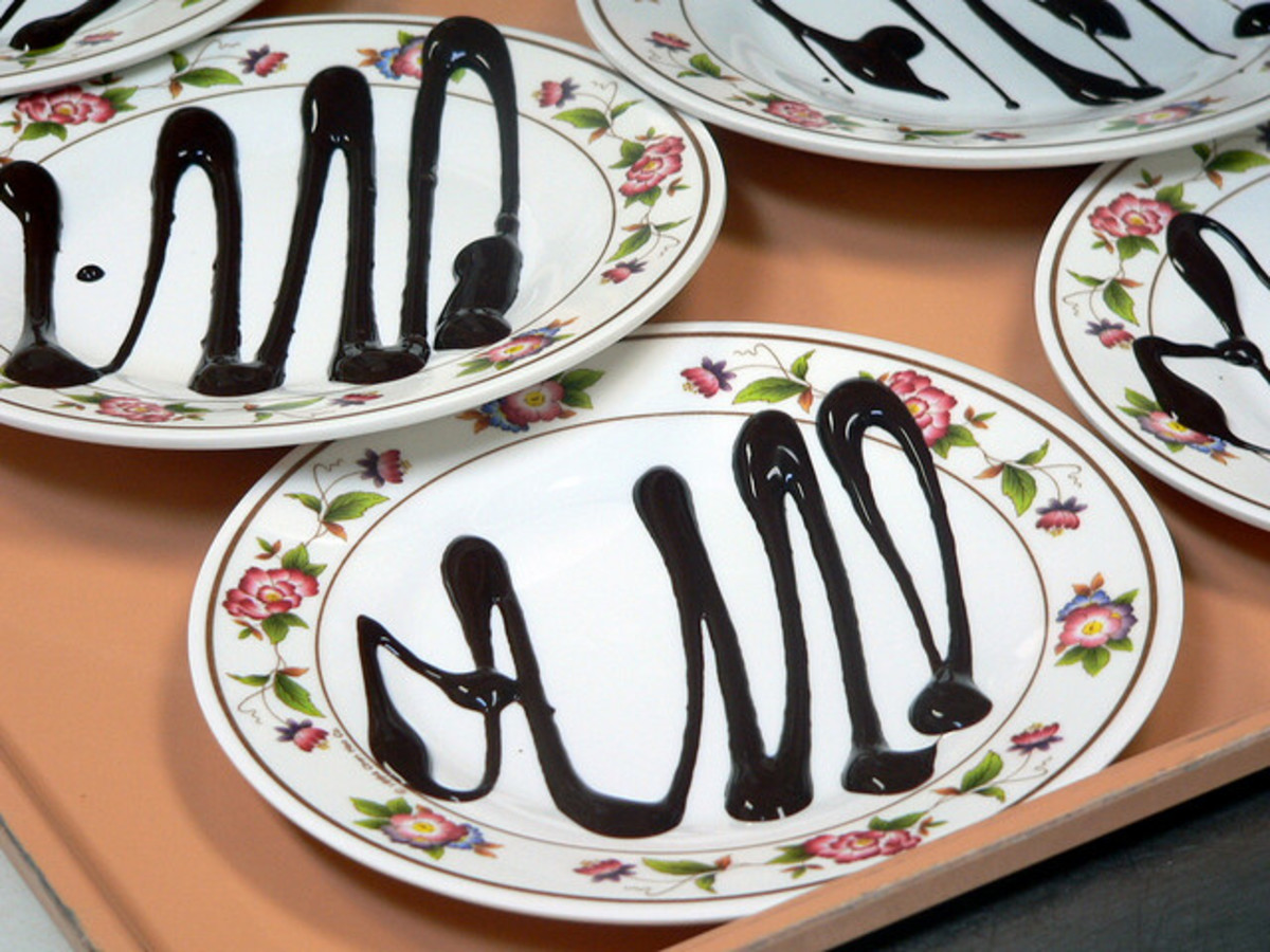 Drizzle chocolate on a plate before placing your special dessert.