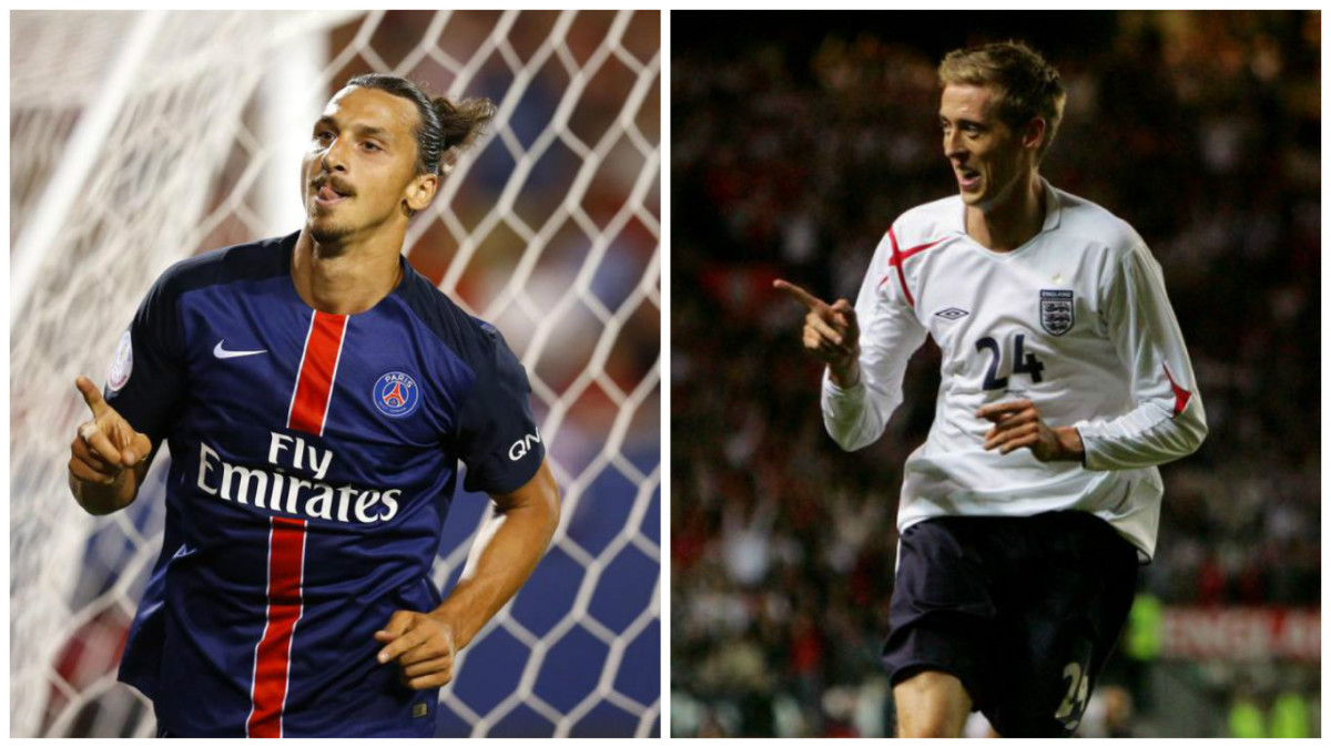 (Left) Zlatan Ibrahimovic and (Right) Peter Crouch. Both tall and strong.