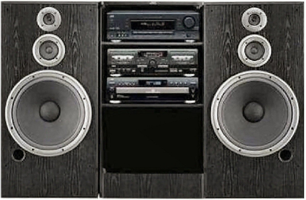 """Typical """"rack"""" system once found in department stores and some stereo retailers."""
