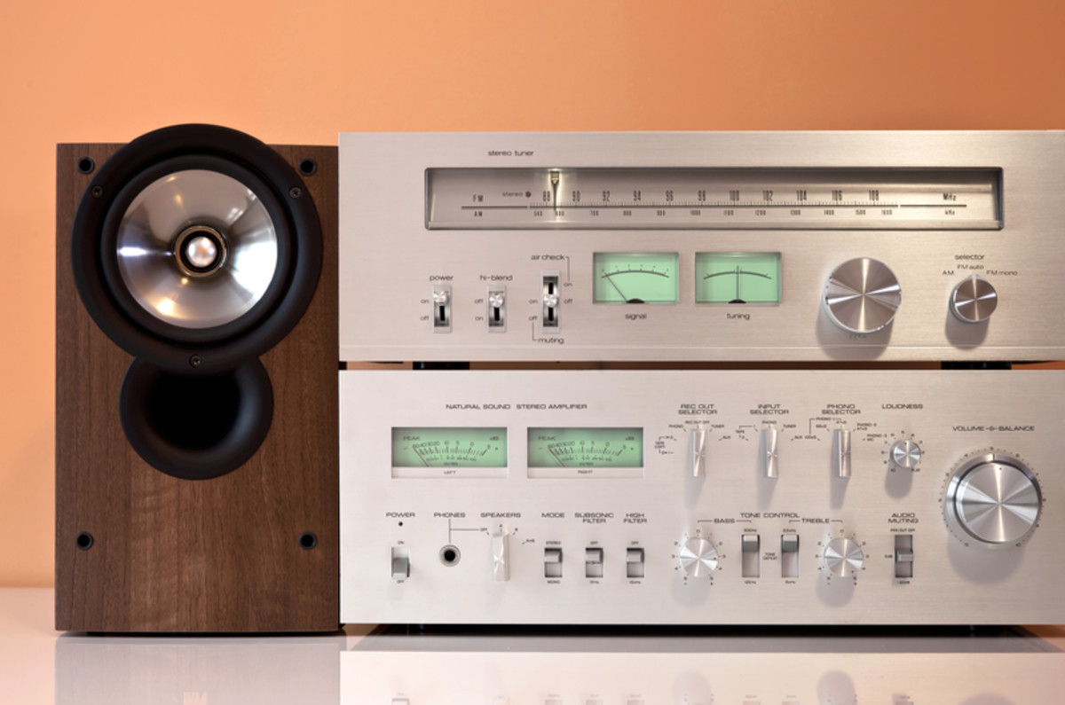 "Stereo components - tuner, integrated amp, and one of the speakers.  High-end enthusiasts sometimes refer to such equipment as ""Oriental mid-fi!"""