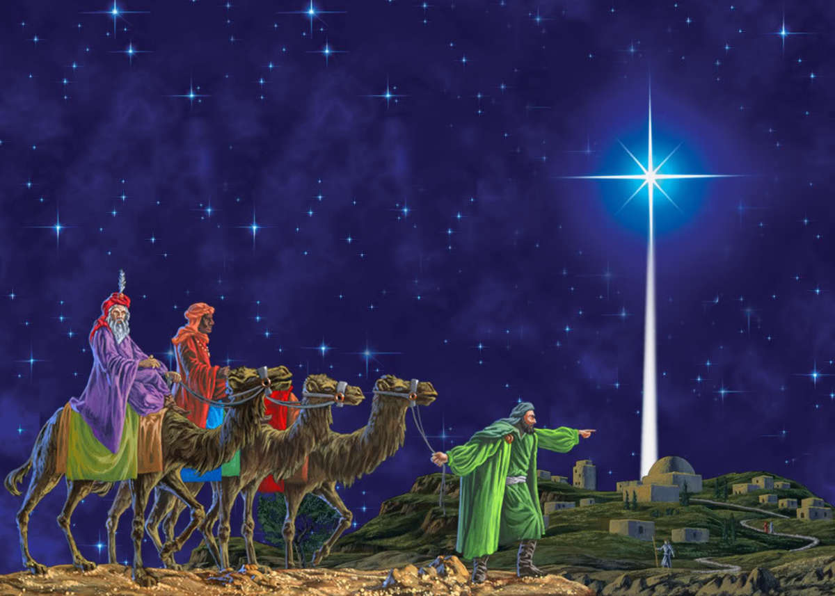 The Three Wise Men were the first Gentiles to recognize the Divinity of the Baby Jesus as Lord and King by offering gifts of gold, francincense and myrrh.