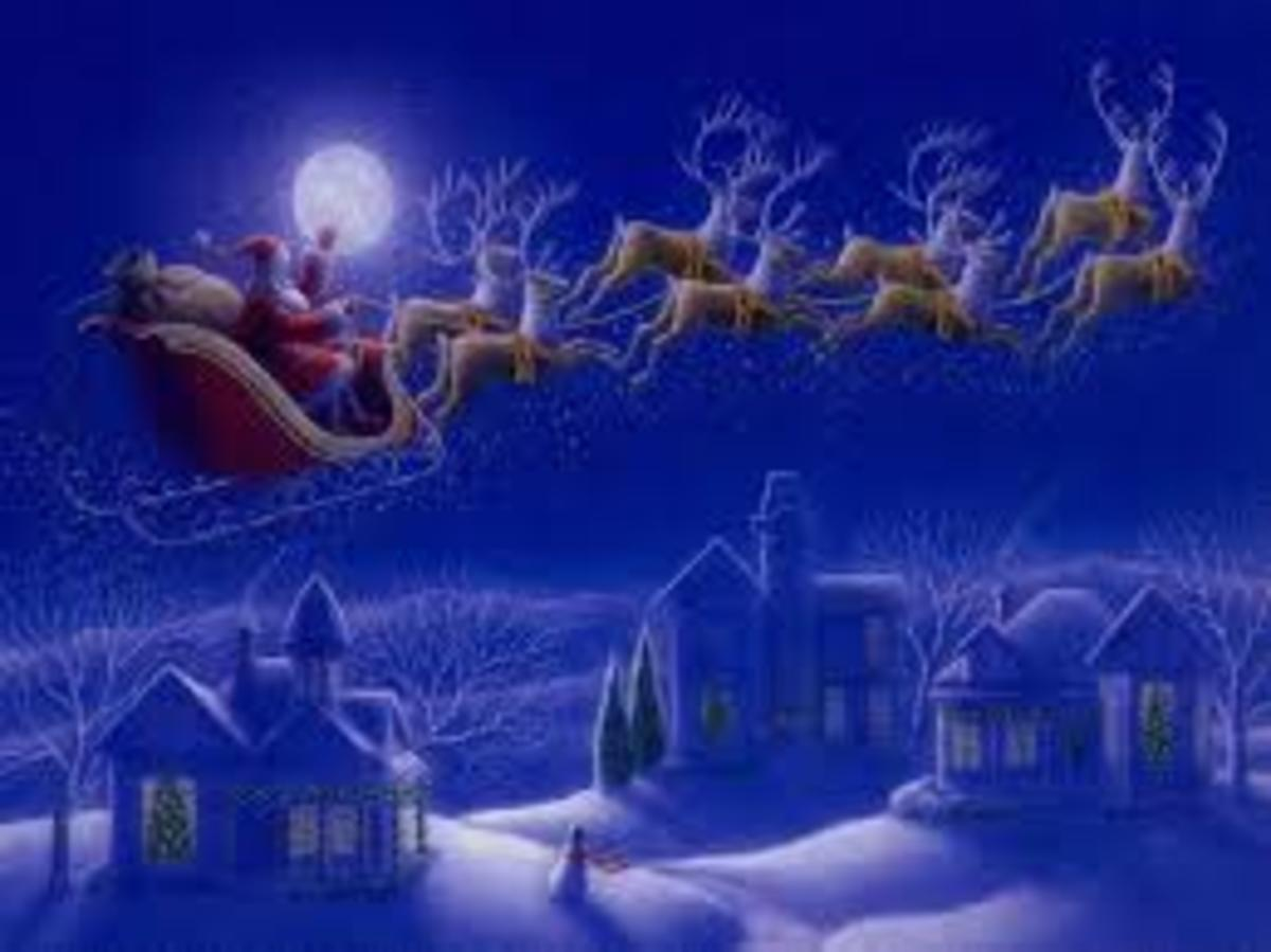 Father Christmas arrives on a sleigh in the early hours of Christmas morning to place presents for children in Christmas stockings or by the family Christmas tree.