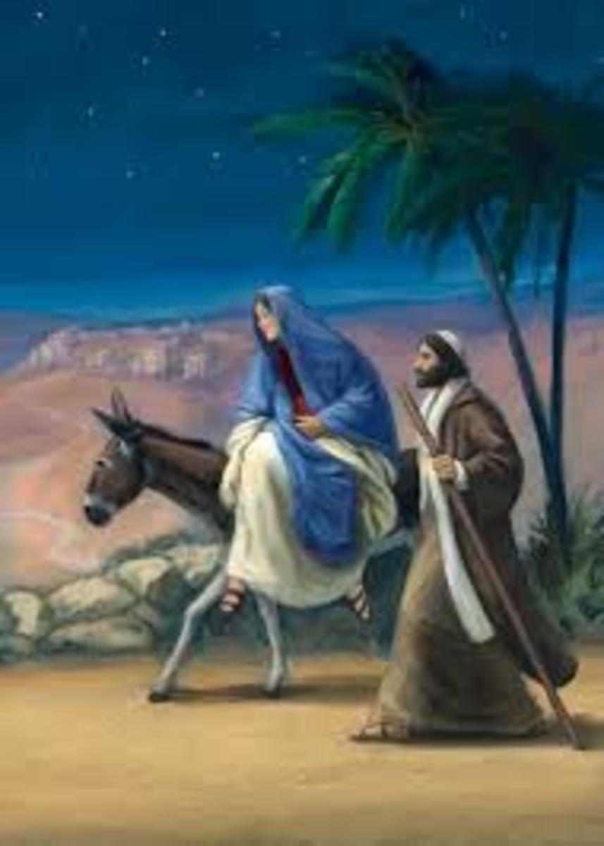 Mary and Joseph traveled from Nazareth to Bethlehem on a humble donkey to find no room at the inn.