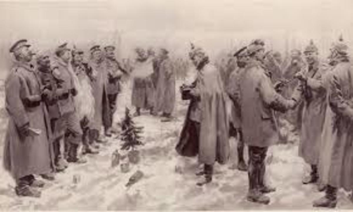 British, French and German soldiers singing of heavenly peace on Christmas Eve.