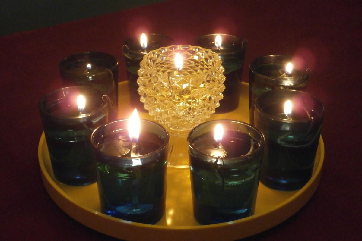 Homemade olive oil Hanukkah menorah