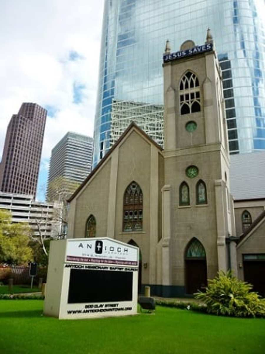 View of the church in downtown Houston, Texas