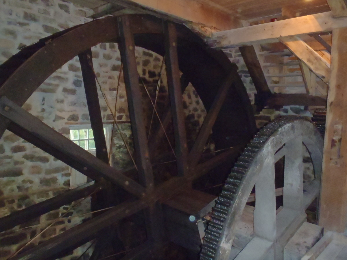 The water and pit wheels at the flour milling museum on Isle-aux-Coudres.