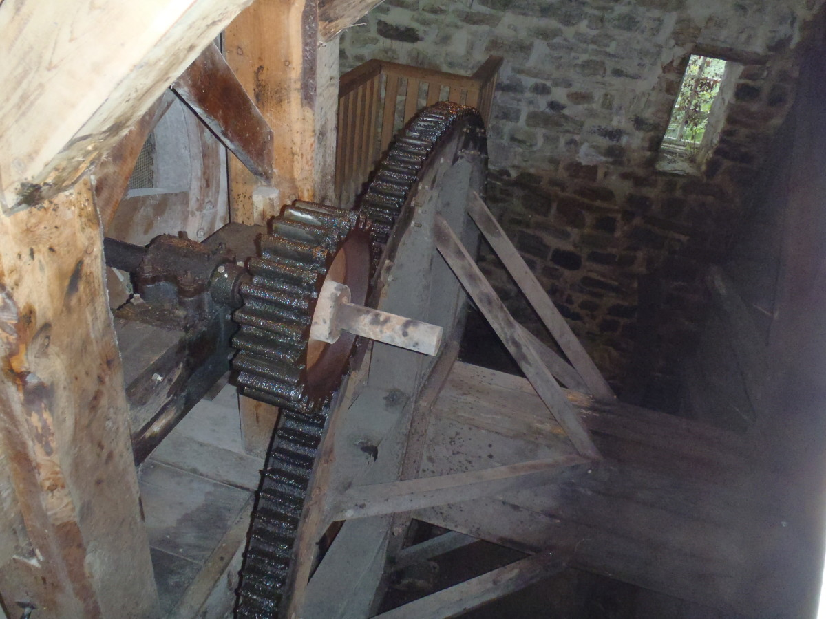 A step gear (small) increases the rpm of the pit wheel.  The optimal speed for a grindstone is 120 rpm while a waterwheel turns at approximately 10 rpm.  Gearing was used to both speed up the system and change the direction of rotation.