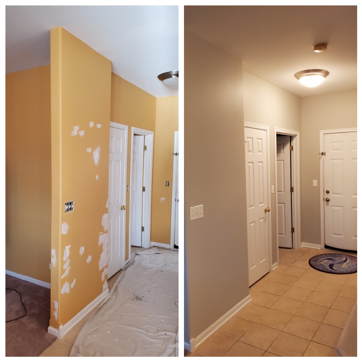 A hallway I painted with color SW-7015.