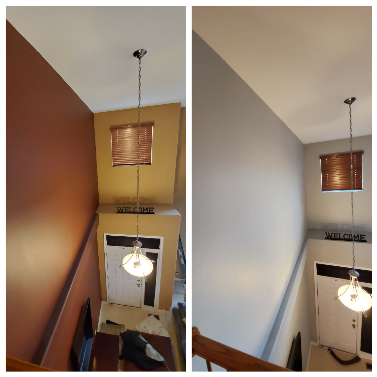 Foyer walls I painted with color SW-7015. This color looks more bluish in a low-lit room.