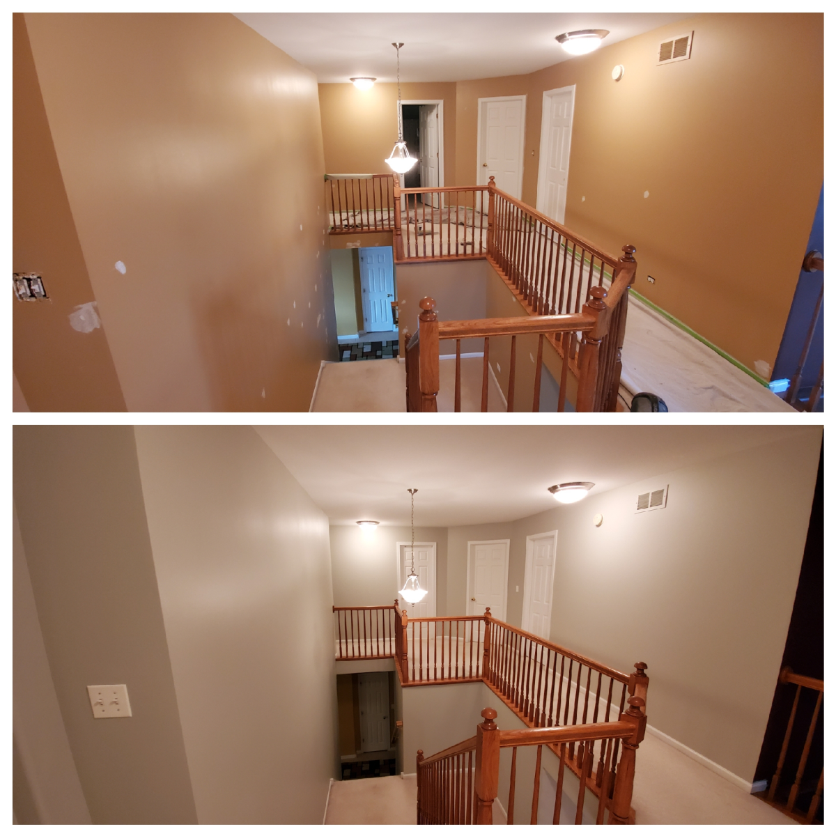 A stairway and hallway I painted with Sherwin Williams Repose Gray. The color is more grayish in a room with bright lighting.
