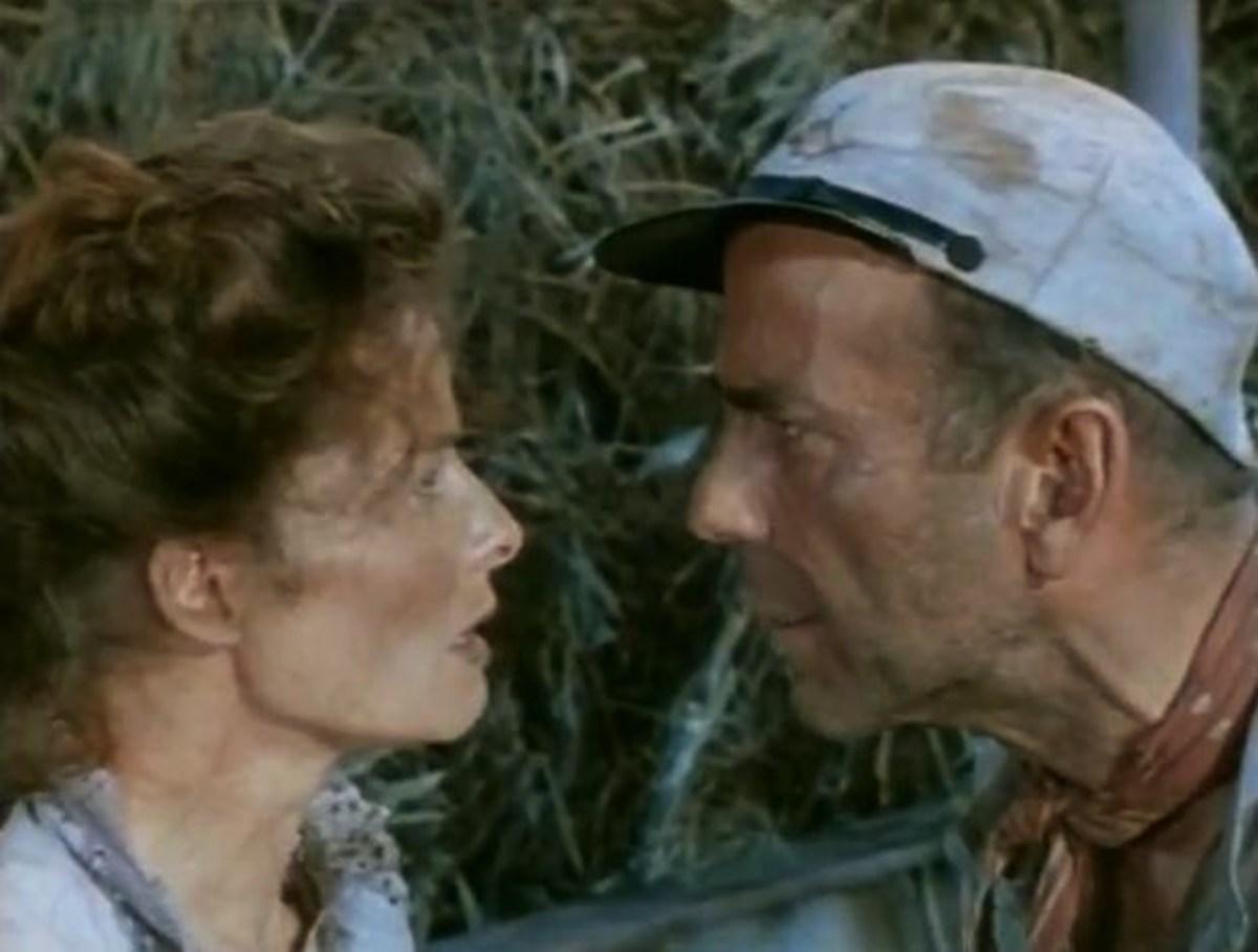 "Bogart and Katharine Hepburn in the 1951 classic  movie ""African Queen"""